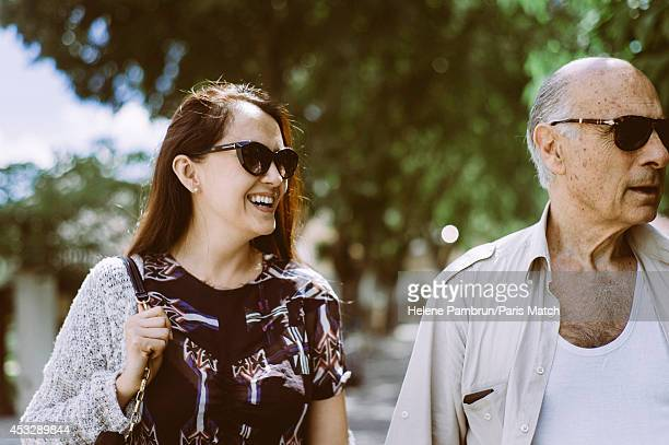 Actor Guy Marchand with his wife Adelina are photographed for Paris Match on June 21, 2014 in Avignon, France.