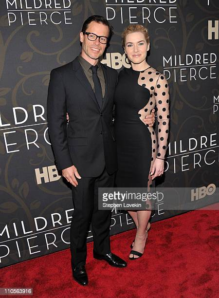 Actor Guy Pearce and actress Kate Winslet attend the Mildred Pierce premiere at the Ziegfeld Theatre on March 21 2011 in New York City