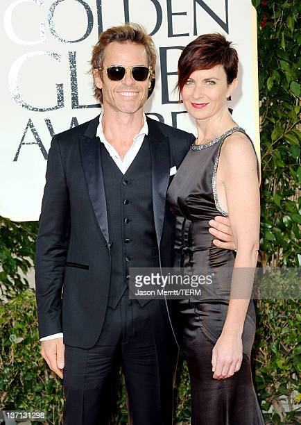 Actor Guy Pearce and wife Kate Mestitz arrive at the 69th Annual Golden Globe Awards held at the Beverly Hilton Hotel on January 15 2012 in Beverly...