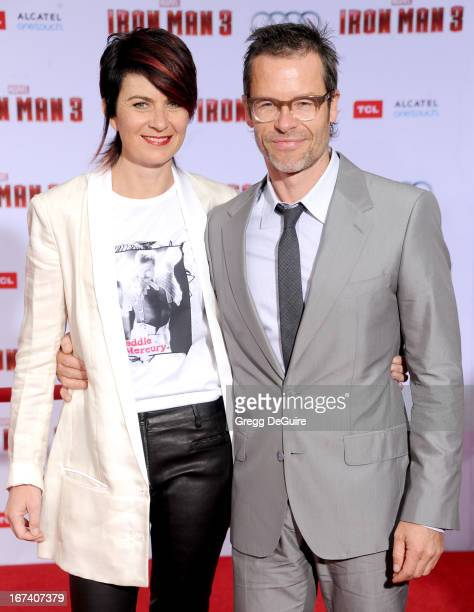 Actor Guy Pearce and wife Kate Mestitz arrive at the Los Angeles premiere of Iron Man 3 at the El Capitan Theatre on April 24 2013 in Hollywood...