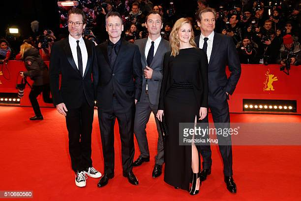 Actor Guy Pearce director Michael Grandage actors Jude Law Laura Linney and Colin firth attend the 'Genius' premiere during the 66th Berlinale...
