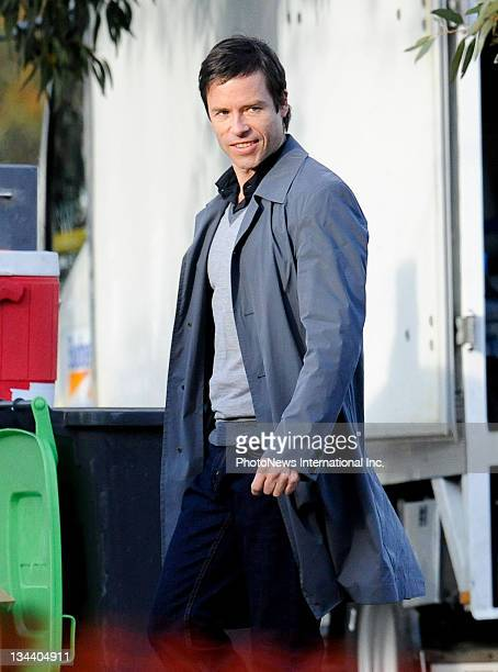 Actor Guy Pearce is seen filming with Katie Holmes on the first day on location on for new horror film 'Don't Be Afraid Of The Dark' at the National...