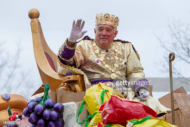 Actor GW Bailey reigning as King of Bacchus in the 2013 Krewe of Bacchus Mardi Gras Parade on February 10 2013 in New Orleans Louisiana
