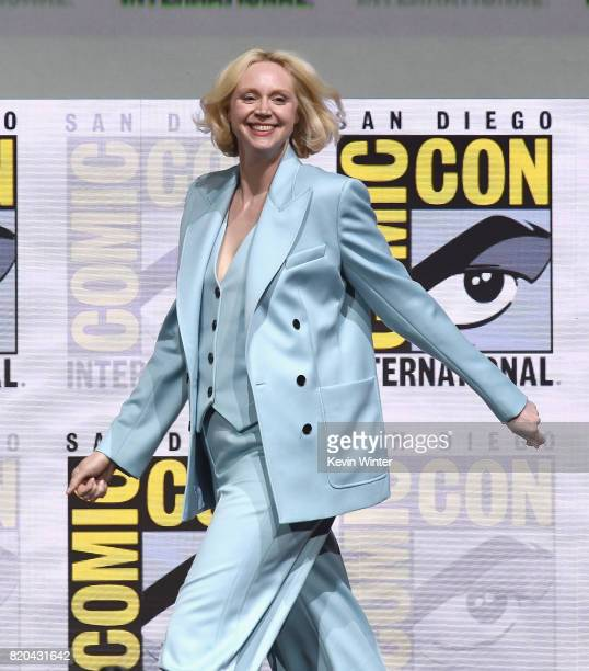 """Actor Gwendoline Christie walks onstage at Comic-Con International 2017 """"Game Of Thrones"""" panel And Q+A Session at San Diego Convention Center on..."""
