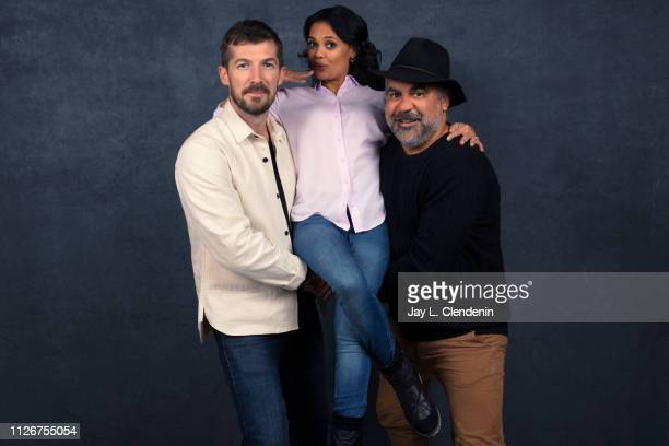 Actor Gwilym Lee writer Miranda Tapsell and director Wayne Blair from 'Top End Wedding' are photographed for Los Angeles Times on January 28 2019 at...