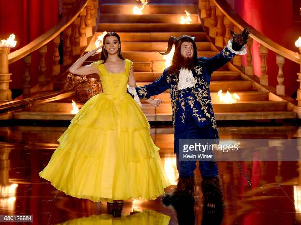 Actor Hailee Steinfeld and host Adam DeVine perform onstage during the 2017 MTV Movie And TV Awards at The Shrine Auditorium on May 7 2017 in Los...