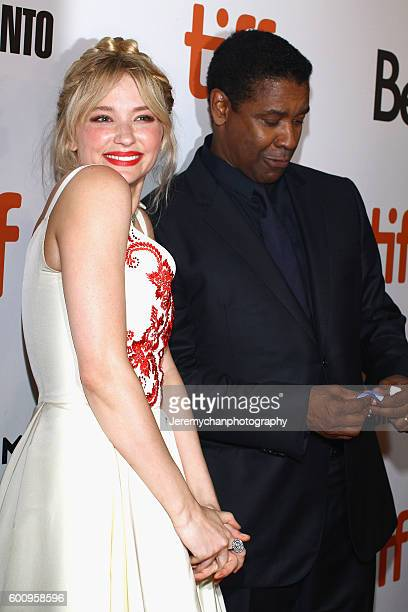 """Actor Haley Bennett and actor Denzel Washington attend the """"The Magnificent Seven"""" premiere held at Roy Thomson Hall during the Toronto International..."""