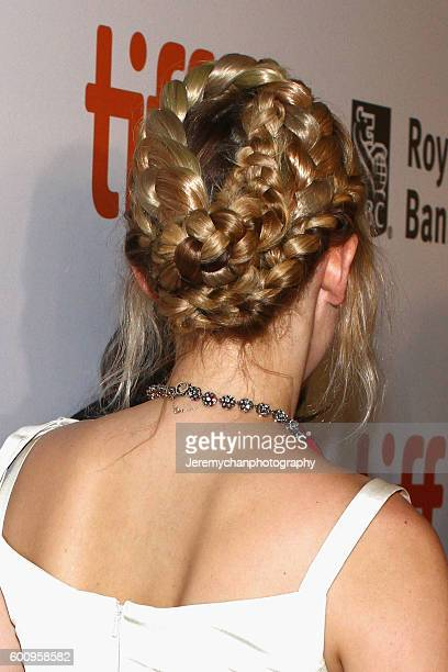 Actor Haley Bennett hair detail attends the 'The Magnificent Seven' premiere held at Roy Thomson Hall during the Toronto International Film Festival...