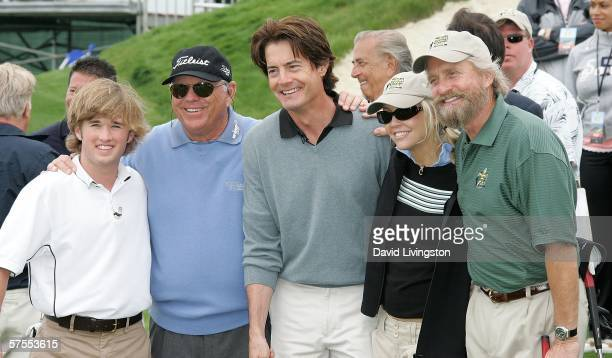 Actor Haley Joel Osment golf instructor Butch Harmon and actors Kyle McLachlan Heather Locklear and Michael Douglas attend the 8th annual Michael...