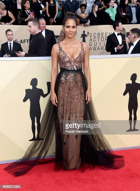 Actor Halle Berry attends the 24th Annual Screen ActorsGuild Awards at The Shrine Auditorium on January 21 2018 in Los Angeles California