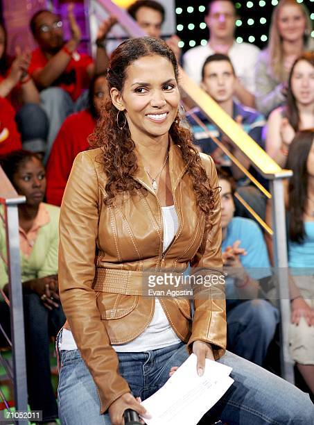 Actor Halle Berry makes an appearance on MTV's Total Request Live to promote the new film XMen The Last Stand May 25 2006 in New York City