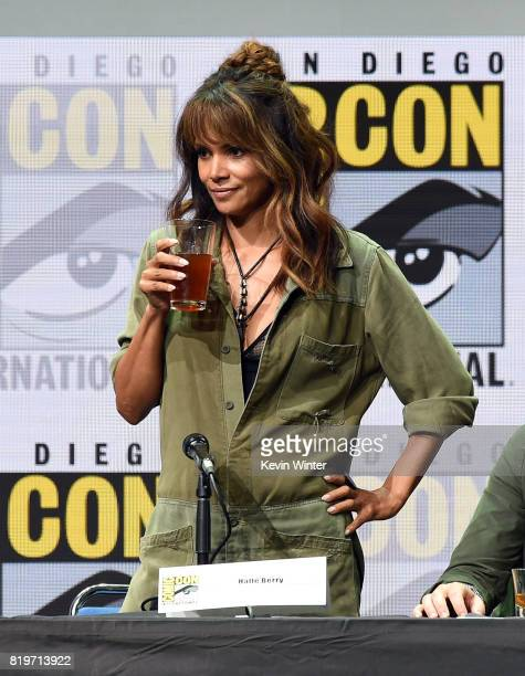 Actor Halle Berry takes a drink onstage at the 20th Century FOX panel during ComicCon International 2017 at San Diego Convention Center on July 20...
