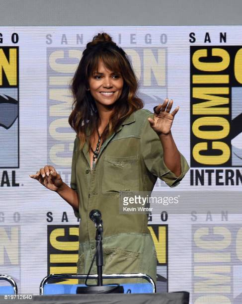 Actor Halle Berry walks onstage at the 20th Century FOX panel during ComicCon International 2017 at San Diego Convention Center on July 20 2017 in...