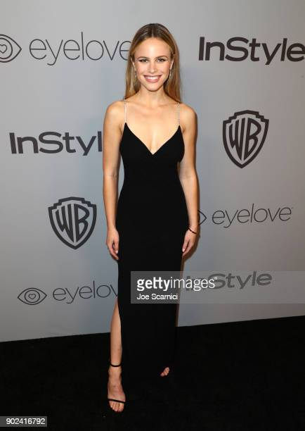 Actor Halston Sage attends the 2018 InStyle and Warner Bros 75th Annual Golden Globe Awards PostParty at The Beverly Hilton Hotel on January 7 2018...