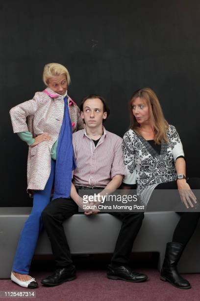 Actor Hamish Campbell director Jodi Gilchrist and actress Moe Moss posed during a rehearsal of their play The Graduate 25FEB13