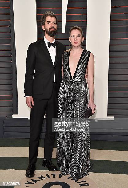 Actor Hamish Linklater and actress Lily Rabe attend the 2016 Vanity Fair Oscar Party hosted By Graydon Carter at Wallis Annenberg Center for the...