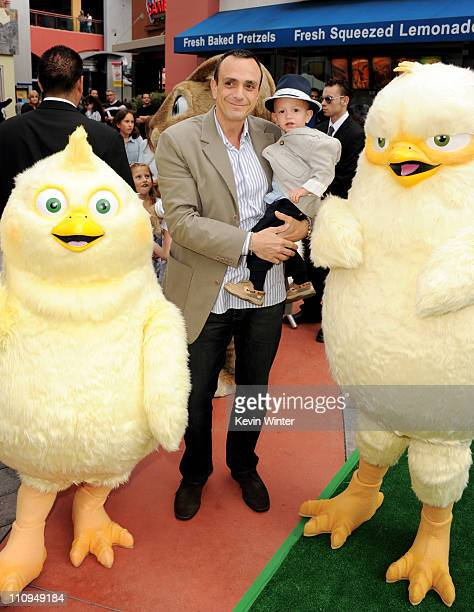 Actor Hank Azaria and his son Hal arrive at the premiere of Universal Pictures and Illumination Entertainment's HOP at CityWalk on March 27 2011 in...