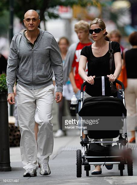 Actor Hank Azaria and Katie Wright are seen with son Hal in SOHO on May 27 2010 in New York New York