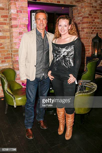 Actor Hannes Jaenicke and his girlfriend Vaile Fuchs during the Telekom Entertain TV Night Party at Hotel Zoo on April 28 2016 in Berlin Germany