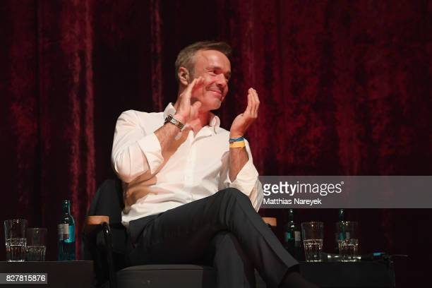 Actor Hannes Jaenicke speaks on stage at a QA after a special screening of 'An Inconvenient Sequel Truth to Power' at Zoo Palast on August 8 2017 in...