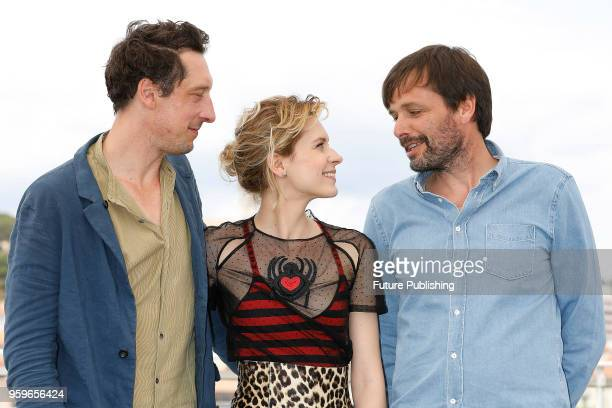 Actor Hans Loew actress Elena Radonicich and director Ulrich Koehler at the 'In My Room' Photocall during the 71st Cannes Film Festival at the Palais...