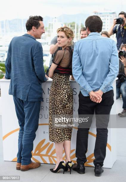 Actor Hans Low actress Elena Radonicich and director Ulrich Kohler attend the 'In My Room' Photocall during the 71st annual Cannes Film Festival at...