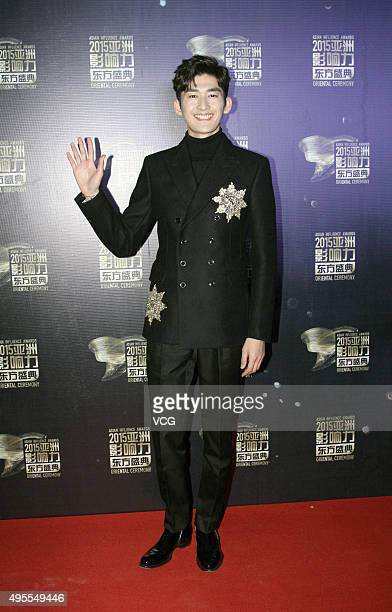 Actor Hans Zhang arrives at the red carpet of the 2015 Asian Influence Award Oriental Ceremony at Beijing Workers' Gymnasium on November 3, 2015 in...