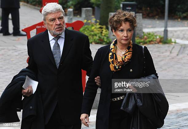 Actor Hardy Krueger and his wife Anit arrive for the memorial service for Loki Schmidt wife of former German Chancellor Helmut Schmidt at the St...
