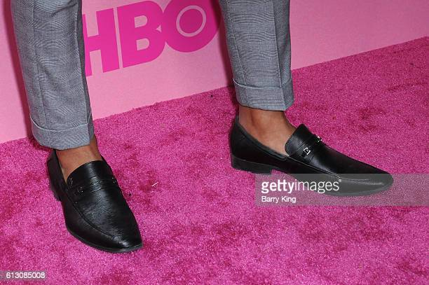 Actor Hari Williams shoe detail attends the premiere of HBO's 'Insecure' at Nate Holden Performing Arts Center on October 6 2016 in Los Angeles...