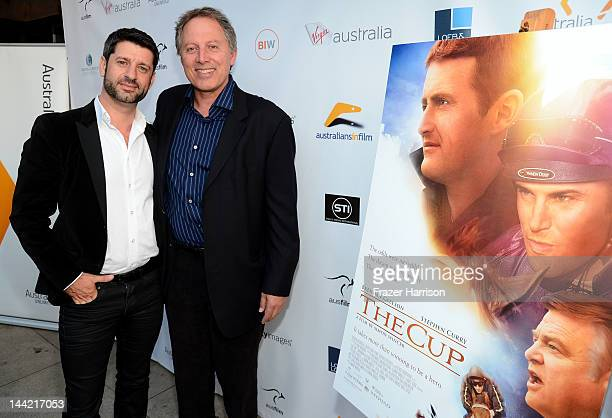 Actor Harli Ames and executive producer Kirk D'Amico arrive at the Australians In Film Screening and USA premiere of Myriad Pictures' The Cup at...