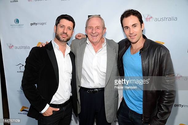 R Actor Harli Ames director Simon Wincer and Andrew Bongiorno arrive at Australians In Film Screening and USA premiere of Myriad Pictures' The Cup at...