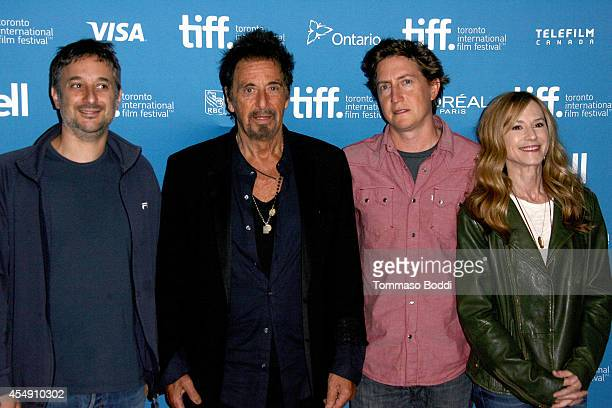 Actor Harmony Korine actor Al Pacino director David Gordon Green and actress Holly Hunter speak at the 'Manglehorn' press conference during the 2014...
