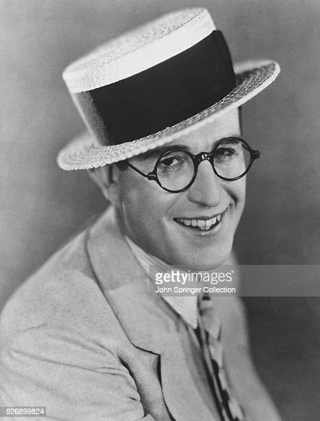Actor Harold Lloyd Wearing A Boater Hat