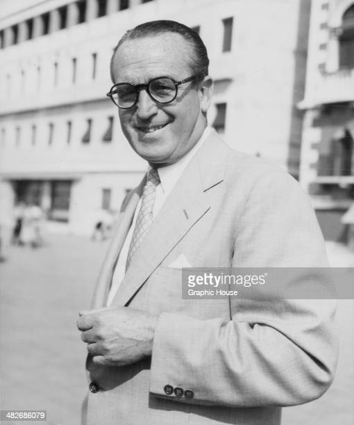 Actor Harold Lloyd wearing his trademark glasses circa 1960