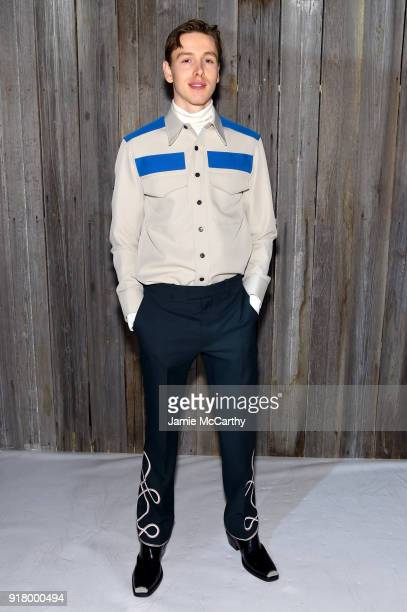 Actor Harris Dickinson attends the Calvin Klein Collection during New York Fashion Week at New York Stock Exchange on February 13 2018 in New York...