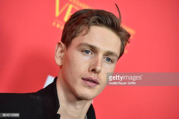Actor Harris Dickinson attends the Los Angeles Premiere of 'The Assassination of Gianni Versace American Crime Story' at ArcLight Hollywood on...
