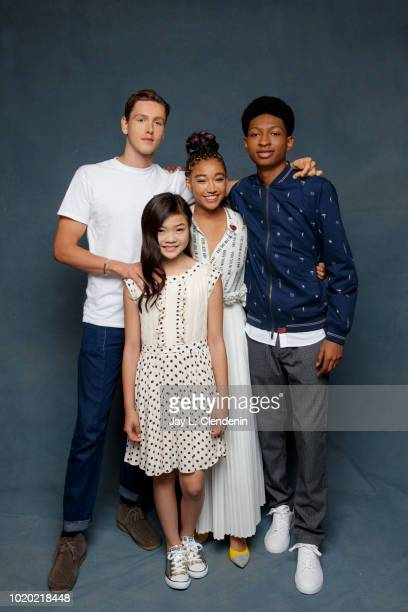 Actor Harris Dickinson Miya Cech Amandla Stenberg and Skylan Brooks from 'The Darkest Minds' are photographed for Los Angeles Times on July 21 2018...