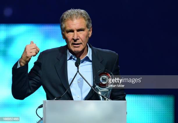 Actor Harrison Ford accepts the Lifetime Achievement Award at the CinemaCon awards ceremony at The Colosseum at Caesars Palace during CinemaCon the...