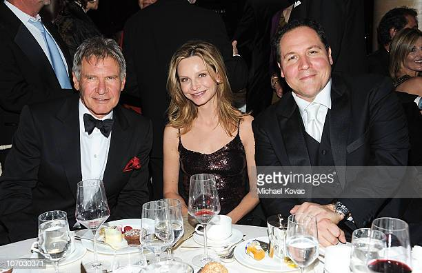 Actor Harrison Ford actress Calista Flockhart and actor/director Jon Favreau attend SBIFF's 5th Annual Kirk Douglas Award For Excellence In Film...