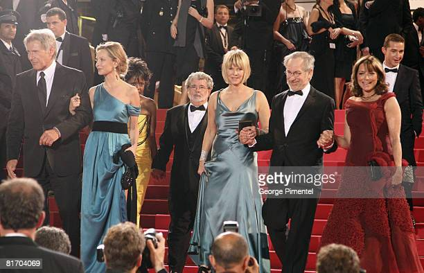 Actor Harrison Ford actress Calista Flockhart Kate Capshaw director Steven Spielberg and actress Karen Allen depart from the 'Indiana Jones and the...