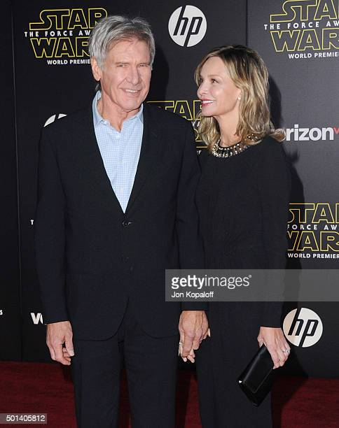 Actor Harrison Ford and actress Calista Flockhart arrive at the Los Angeles Premiere 'Star Wars The Force Awakens' on December 14 2015 in Hollywood...