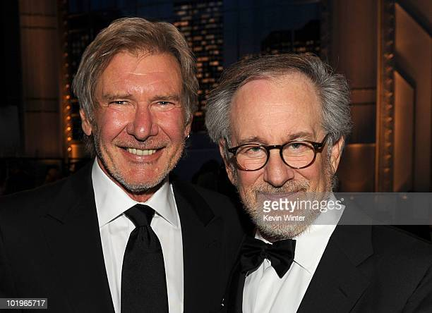 Actor Harrison Ford and AFI Board Member Steven Spielberg pose in the audience during the 38th AFI Life Achievement Award honoring Mike Nichols held...