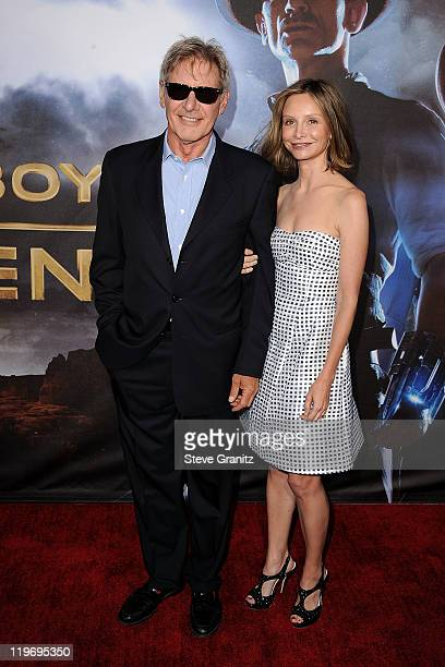 Actor Harrison Ford and Calista Flockhart arrive at the 'Cowboys Aliens' World Premiere at San Diego Civic Theatre on July 23 2011 in San Diego...