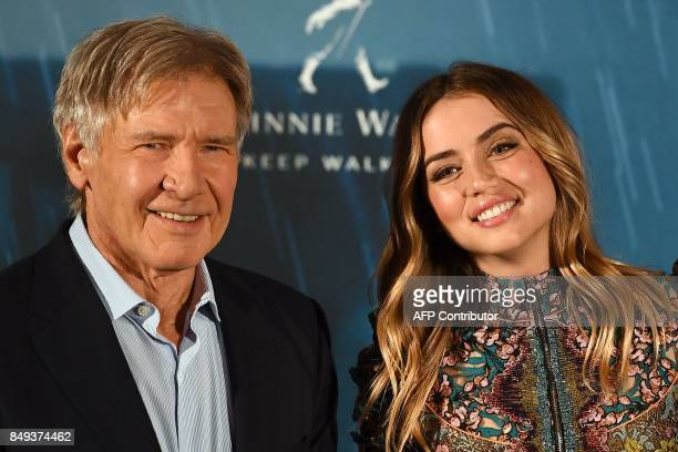 US actor Harrison Ford and Cuban actress Ana de Armas pose during the photocall of the film Blade Runner 2049 in Madrid on September 19 2017 / AFP...