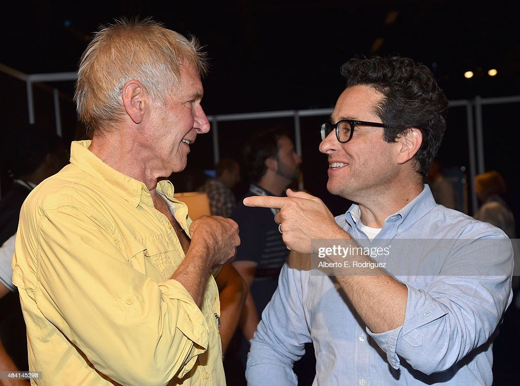 Actor Harrison Ford (L) and director J.J. Abrams of