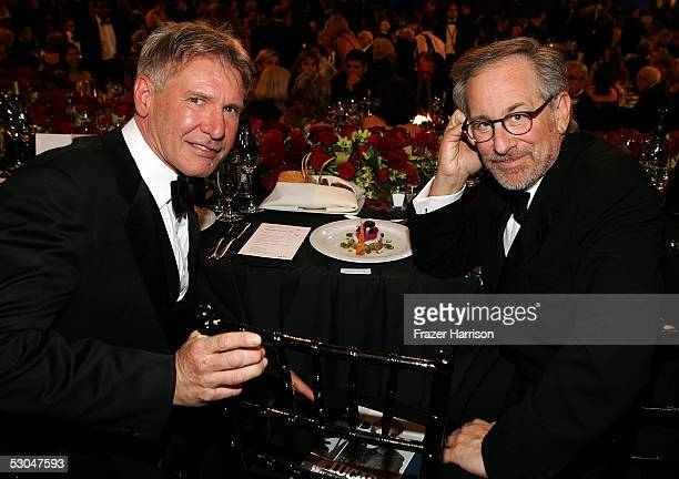 Actor Harrison Ford and director Steven Spielberg pose during the 33rd AFI Life Achievement Award tribute to George Lucas at the Kodak Theatre on...