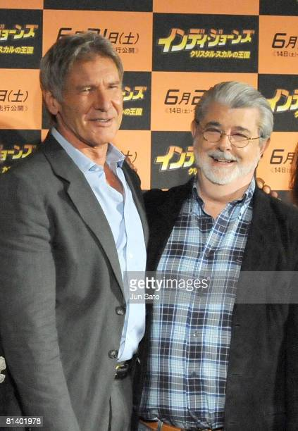 Actor Harrison Ford and exective producer/ writer George Lucas attend 'Indiana Jones and the Kingdom of the Crystal Skull' press conference at Grand...