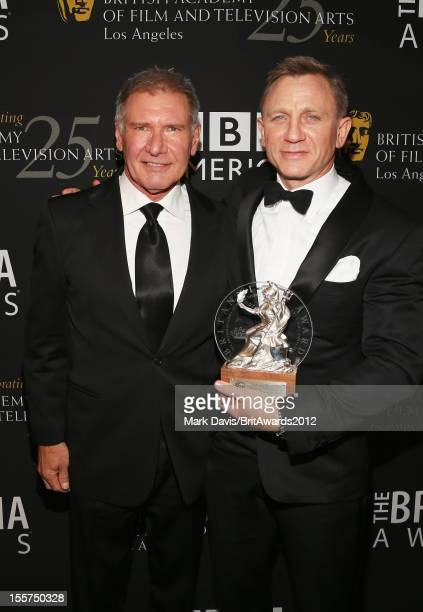 Actor Harrison Ford and honoree Daniel Craig pose backstage at the 2012 BAFTA Los Angeles Britannia Awards Presented By BBC AMERICA at Beverly Hills...