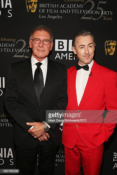 Actor Harrison Ford and host Alan Cumming pose in the Honoree Green Room during the 2012 BAFTA Los Angeles Britannia Awards Presented By BBC AMERICA...