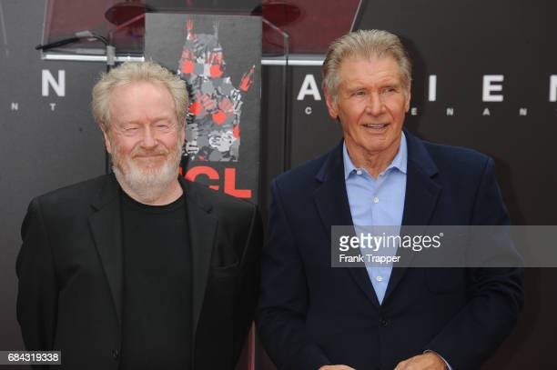 Actor Harrison Ford and Sir Ridley Scott attend his hand and footprint ceremony at TCL Chinese Theatre IMAX on May 17 2017 in Hollywood California